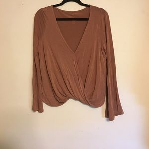 Tan long sleeve cross body blouse
