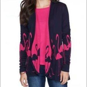 Navy & pink flamingos fly away cardigan sweater