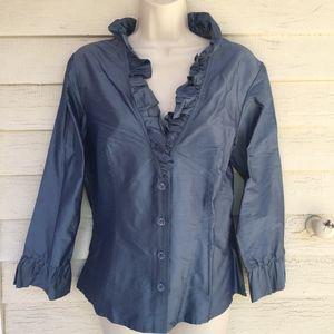 MIKANE gorgeous silk ruffled 3/4 sl blouse! 14