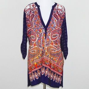Anthropologie Tiny Paisley Print Roll-Tab Blouse
