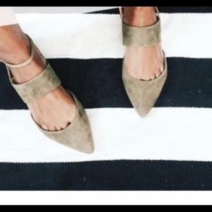 Banana republic pointed toe ankle strap mule flats