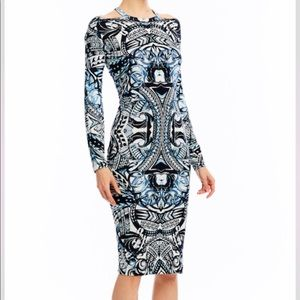 Nicole Miller Jersey Print Dress with Cut Outs