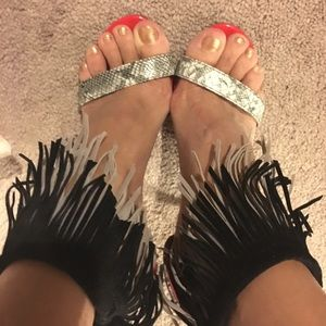 Shoe Republic LA Shoes - Red High Heel Shoes with Fringe