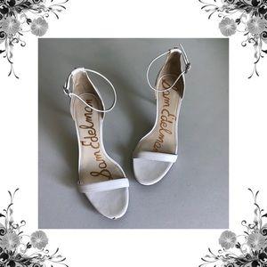{Sam Edelman} Patti White Leather Heeled Sandals