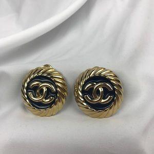 "Vintage Chanel ""CC"" Clip-on Earrings circa 1980"