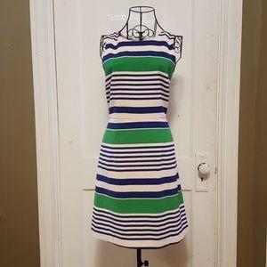 Esley Anthropologie Large Blue Green Striped Dress