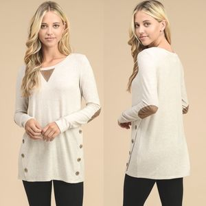 AMMIE Softest Tunic Top - OATMEAL