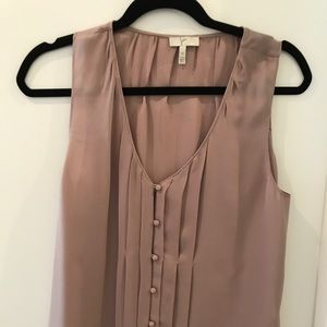 Lilac Joie button up tank w silk covered buttons