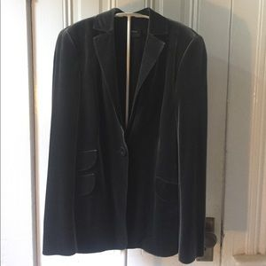 Akris green gray velvet blazer jacket 10