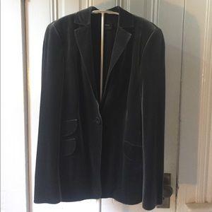 Akris green gray velvet blazer jacket 10