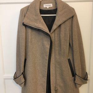 Calvin Klein Wool/Leather Peacoat