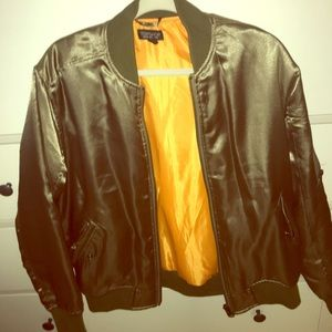 Satin green bomber jacket