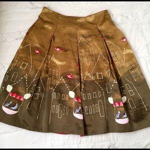"Rare Maeve ""Feathered Village"" Silk Skirt   NWT 4"