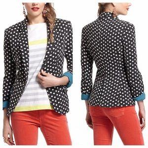 <Anthro> Cartonnier Black Polka Dot Blazer Jacket