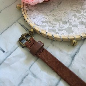 Accessories - Skinny Brown and Brass Belt with Embossed Design