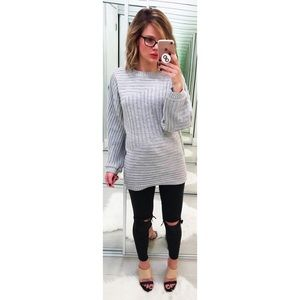 Missguided Gray Ribbed Oversized Sweater