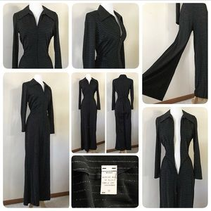 Vintage 70's Disco jumpsuit, black & silver, S