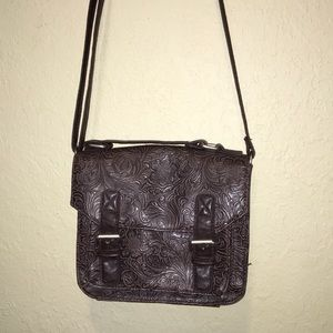 Merona Brown Embossed Crossbody Bag Purse