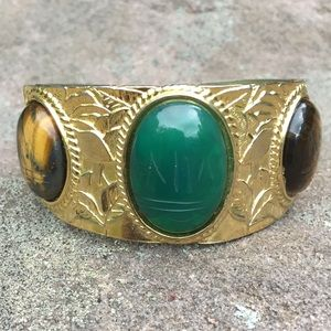 Vintage Scarab Cuff Bracelet