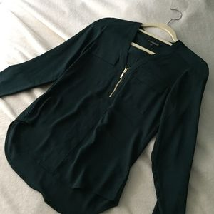 Express Green Portofino Button Up Slim Fit Blouse