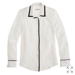 J. Crew Tipped boy shirt 100 silk ladies blouse 12