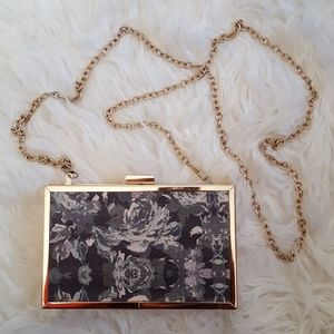 Floral statement hard square purse olive green