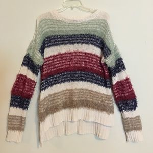 Fuzzy Striped Oversized Loose Knit Woven Sweater