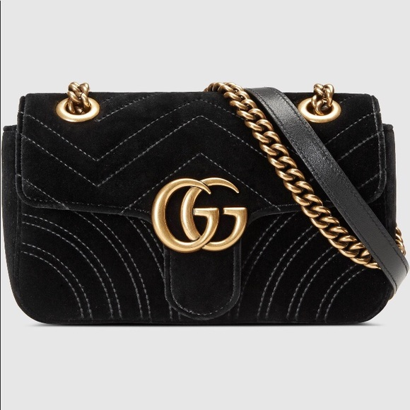 e1af016653c Gucci Handbags - AUTHENTIC Gucci Marmont Black Velvet Shoulder Bag