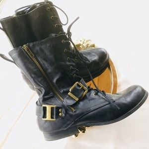 Forever 21 black motorcycle combat boots size 10