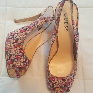Nearly new Guess slingback heels, size 9
