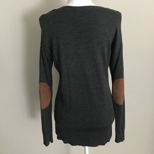 Grey Sweater with Brown Suede Elbow Patches