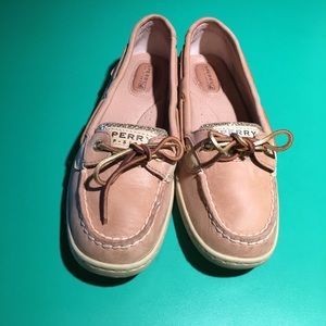 Sperry Gold Glitter & Leather Top-Sider Flats s7.5