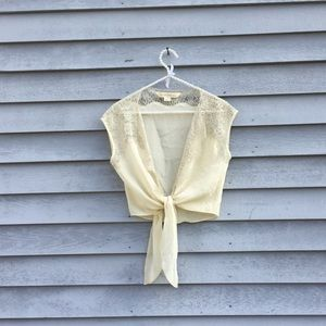 Silk Lace Tie Front Cream Top Thistle Pearl