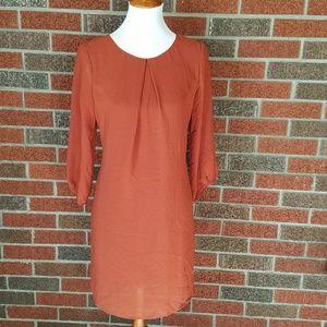 Burnt Orange Long Sleeve Zipper Back Dress