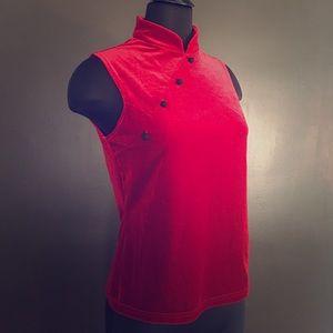 Vintage Mandarin Style Crimson Velvet Top- Size M