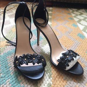 J. Crew leather flower heels