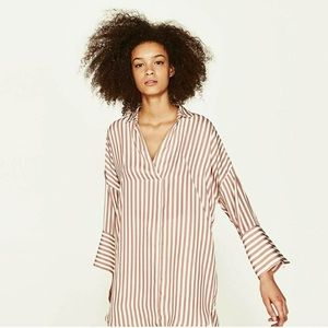 NWT Zara striped silk tunic dress