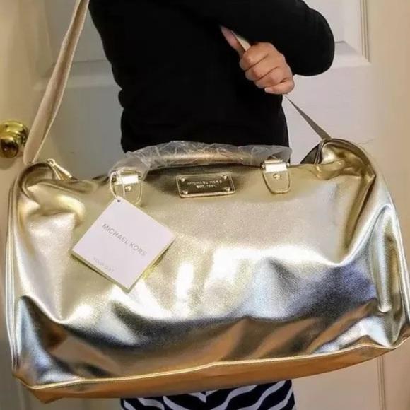 71d6057f1849 Michael Kors Bags | Nwt Weekend Travel Duffle Bag Gold | Poshmark