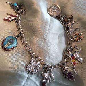11 charm sterling silver charm bracelet-vintage