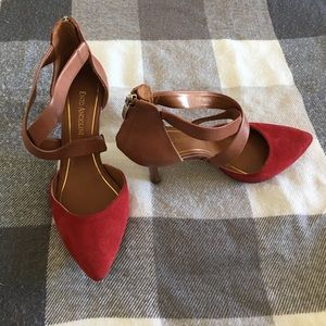 Enzo Angiolini, red suede toe heels