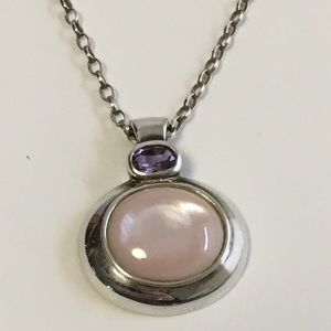 Pink Mother of Pearl and Amethyst Silver necklace