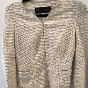 Zara beige and silver sparkly tweed jacket