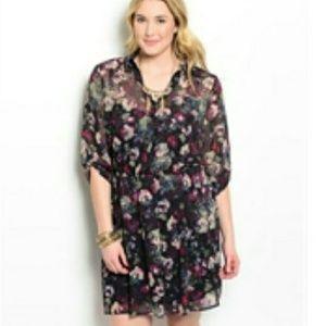 Floral Top Button Down Dress