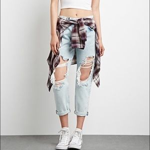 Forever 21 Light Wash Distressed Ripped Jeans