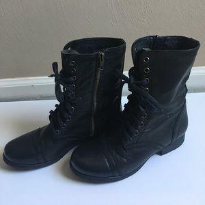 Steve Madden Troopa Black Combat Boots 6.5