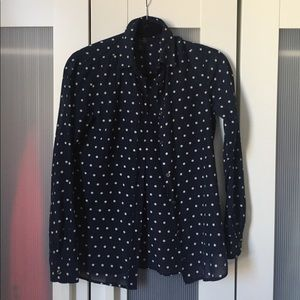 J.Crew Sheer Navy Dotted Button Up Shirt - Size 00