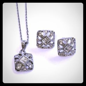 Vintage Art Deco style  necklace and earrings set