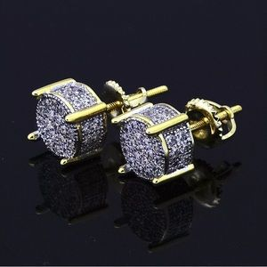 Other - Men's Micro Pave ICED OUT Earrings Screw Backs