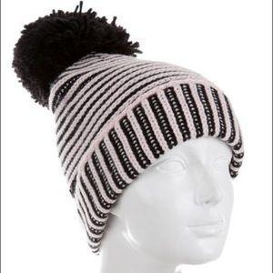 NEW Kate Spade Pom Pom Knit Beanie Black Pink