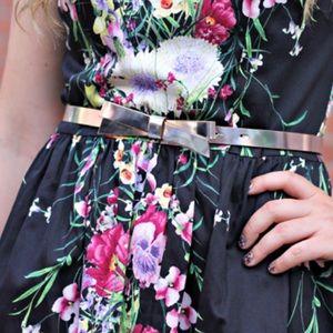 Kate Spade Metallic Skinny Bow Belt Silver